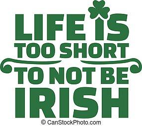 Irish saying - Life is too short to not be irish