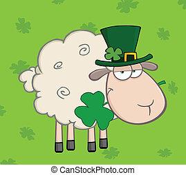 Irish Sheep On A Green Background - Irish Sheep Carrying A...
