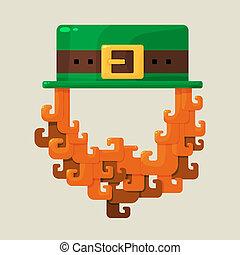 Irish St. Patricks Day leprechaun icon with a symbolic green...