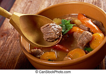 Irish stew farm-style with tender lamb meat, potatoes and ...