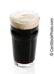Irish Stout beer, isolated on white