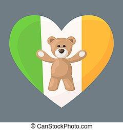 Irish Teddy Bears - Teddy Bears with heart with flag of ...