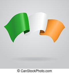 Irish waving Flag. Vector illustration