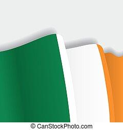Irish waving Flag. Vector illustration.