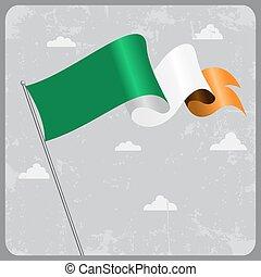 Irish wavy flag. Vector illustration.