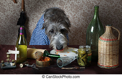Irish wolfhound dog at the table