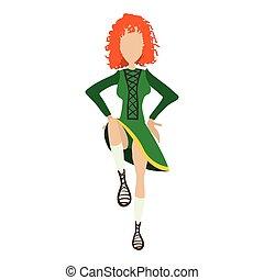 irishstep, ballerino, ragazza, cartone animato, illustrazione