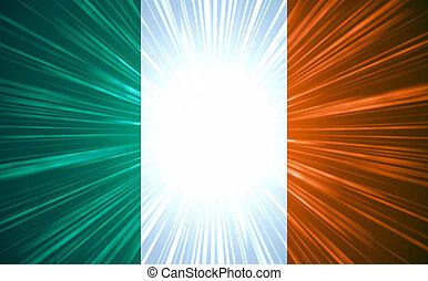 irländskor flaggar, med, dager rocka