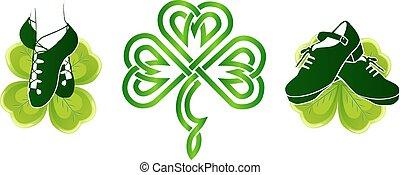 irlandés, bailando, shoes, en, verde, tréboles
