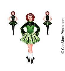 irlandés, bailarines, trío