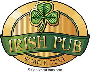 irlandés, bar, etiqueta, diseño