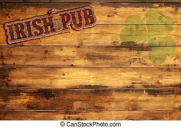 irlandés, bar, etiqueta