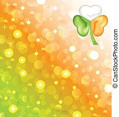 irlandés, color, patrick, trébol, bandera, santo, día