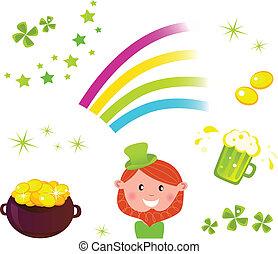 irlandés, conjunto, iconos, s., día, símbolos, patrick's