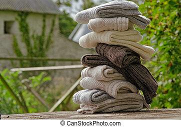 irlandés, invierno, acanalado, calcetines, fornido, lana, ...