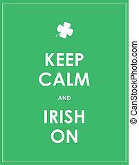irlandés, -, retener, vector, calma, plano de fondo