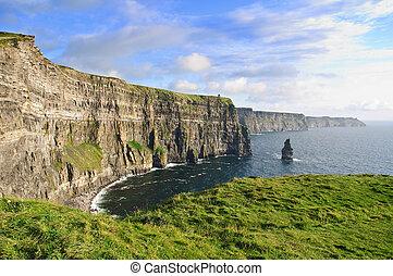 irlandés, tarde, moher, tarde, famoso, ocaso, acantilados