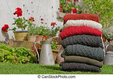 irlandés, tejer, invierno, cable, suéteres, colores, fornido...
