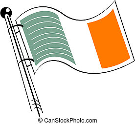 irlandês, arte, clip, bandeira, irlanda, ou
