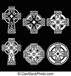 irlandês, celta, branca, crucifixos, escocês