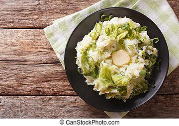 irlandês, savoy, batatas, topo, -, mashed, colcannon, ...