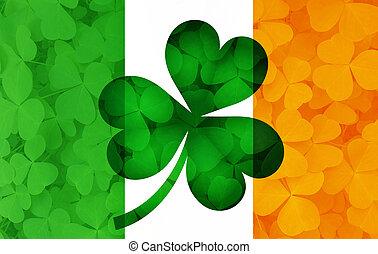 irland, blätter, abbildung, kleeblatt, fahne, hintergrund