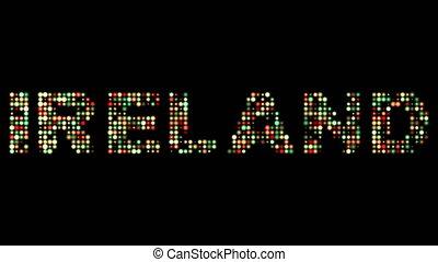 irland, bunte, leuchtdiode, text