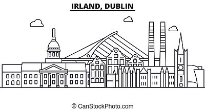 Irland, Dublin architecture line skyline illustration....