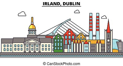 Irland, Dublin. City skyline architecture, buildings,...