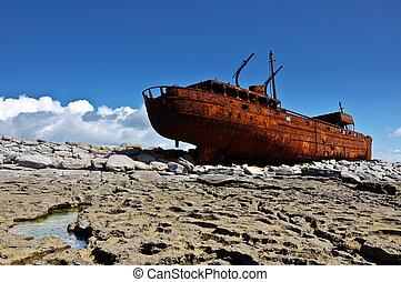 irland, skepp, gammal väst, kust, rostig, aran, förfalla, ...