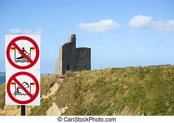 irland, surfer, ballybunion, warnung, atlantisch, weg, zeichen & schilder, wild, hofburg