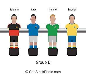 irlanda, foosball, game., set., futbolista, suecia, italia, ...