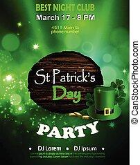 irlandais, affiche, affiche, disco, day., saint, nuit, fête, vacances, patrick's