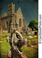 irlandais, ancien, scénique, église abbaye, ruines, paysage