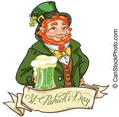 irlandais, bière, lutin, homme