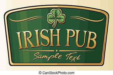 irlandais, conception, pub, étiquette