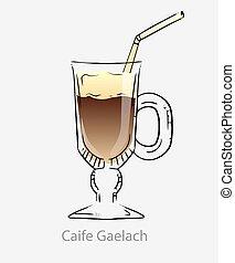 irlandais, crème, gaelach, basé, cocktail, chaud, caife, alcoolique, brun, cocktail., café noir, coffee.