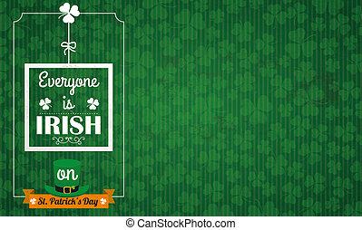 irlandais, everyone, vendange, long, patricks st, fond, jour