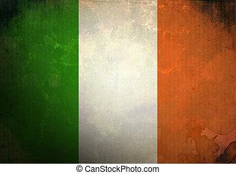 irlandais, grunge, drapeau
