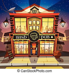 irlandais, pub, dessin animé, illustration