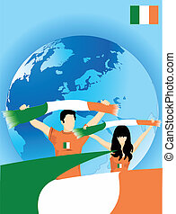irlandais, sport, ventilateurs