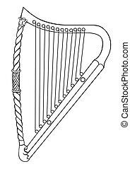 irlandais, vecteur, -, harpe