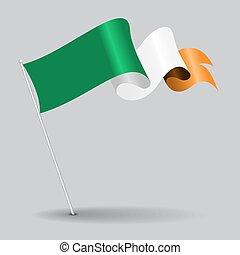 irlandais, vecteur, illustration., épingle, flag., ondulé