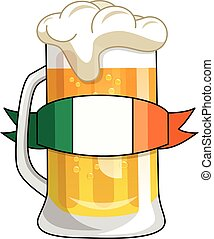 irlandese, birra, isolato, tazza