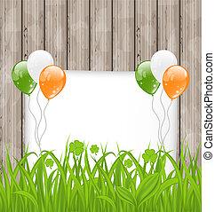 irlandese, colorare, st., -, augurio, illustrazione, patrick's, bandiera, vettore, erba, palloni, giorno, scheda