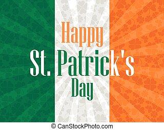 irlandese, festivo, st., illustrazione, day., bandiera, vettore, fondo, clover., patrick's, felice