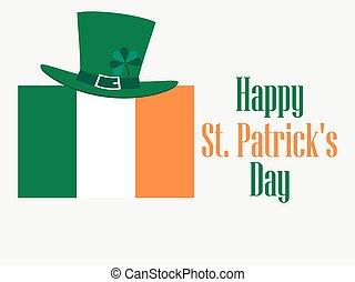 irlandese, festivo, st., illustrazione, day., bandiera, vettore, fondo, hat., gnomo, clover., patrick's, felice