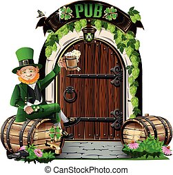 irlandese, porta, pub