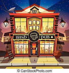 irlandese, pub, cartone animato, illustrazione