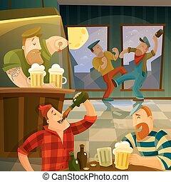 irlandese, pub, fondo